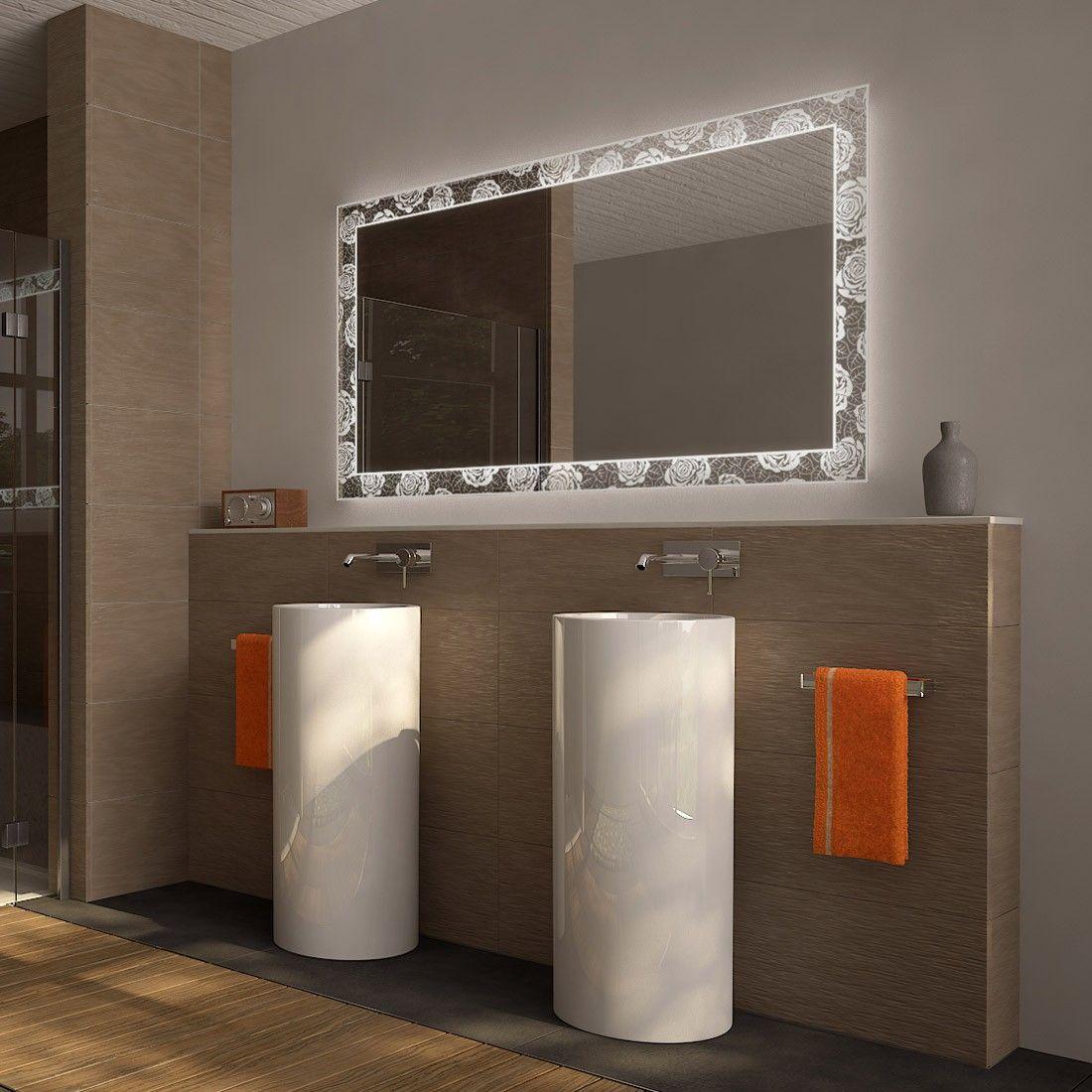 Mit Beleuchtung Rosentraum Badspiegel Spiegel Badezimmerspiegel