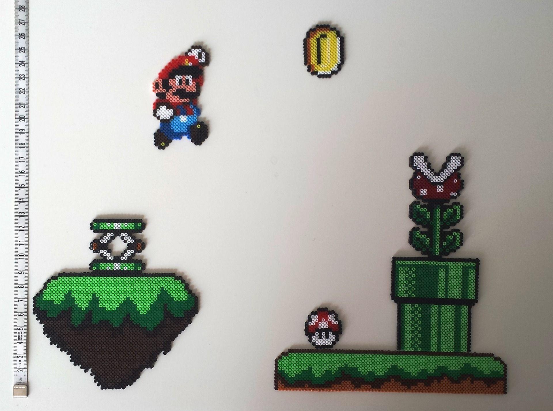 Tableau Mario En Mini Perle A Repasser Schemas De Bijoux En Perles Art Perle Perle A Repasser Modeles