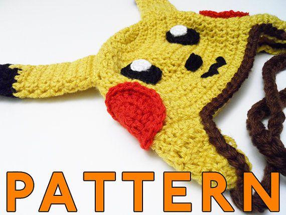 Pikachu Ear Flap Hat Crochet Pattern 500 For Pattern Etsy