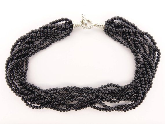 e4446f970 Tiffany Black Onyx Multi-strand Torsade Necklace with sterling silver clasp