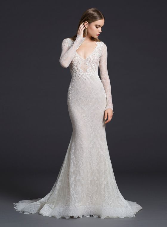 Lazaro 3652 Ivory Chantilly Lace Trumpet Bridal Gown Over Nude Sparkle Net And Cashmere Chiffon