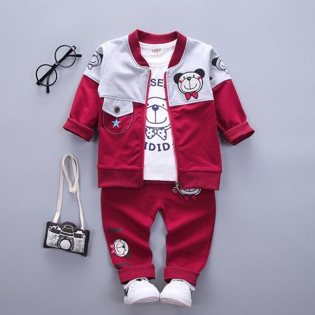 2018 spring autumn Newborns baby boys/girls clothes cartoon bear coat+shirts+pants 3pcs babydresskily