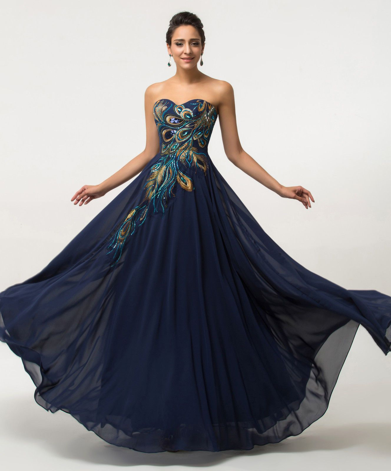 Long peacock evening dress cocktail Formal Party Prom Dress Ball ...