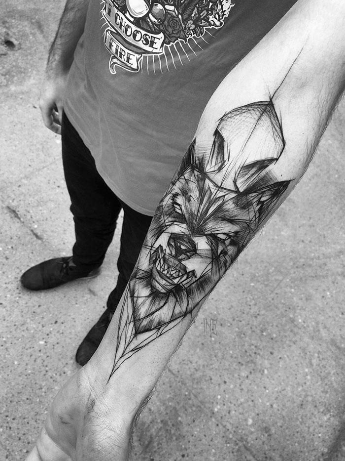 Polish Artist Shows Just How Awesome Sketch Tattoos Can Be Sketch Style Tattoos Wolf Tattoo Design Tattoos
