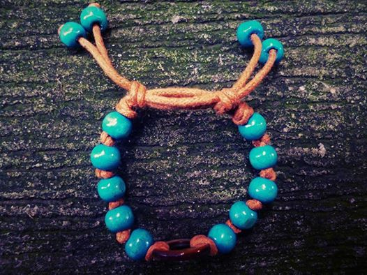 Plumeria Cord Bracelet  Blue Wood Beads in Brown Adjustable Cord  Like us on https://www.facebook.com/plumeriajewelry to purchase.