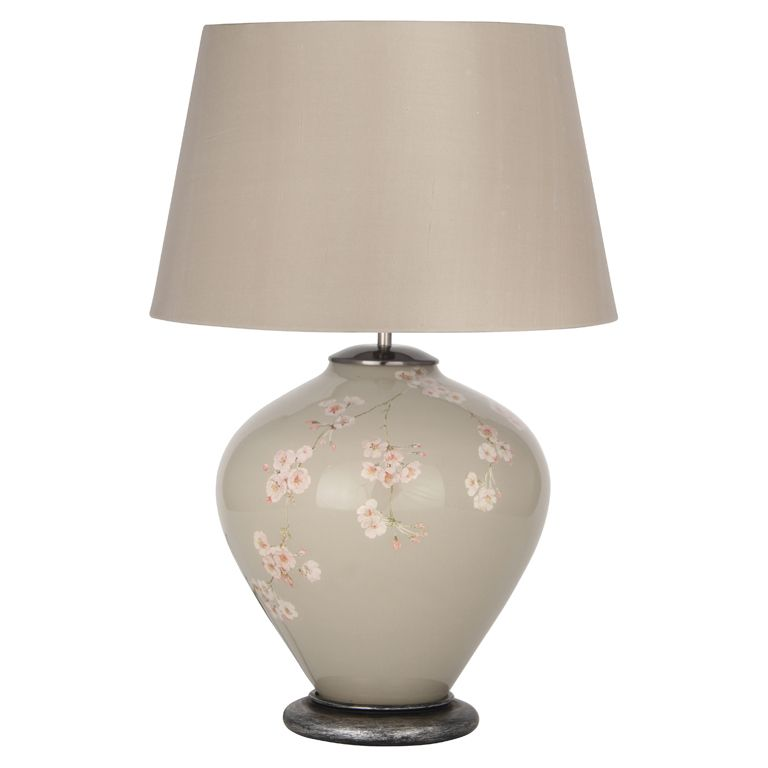 Light Grey & Cherry Blossom Table Lamp Base Only   Интериор ...:Light Grey & Cherry Blossom Table Lamp Base Only,Lighting