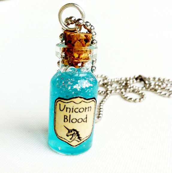 Unicorn Necklace Pink Unicorn Kawaii Unicorn Unicorn Charm Unicorn Power Jewelry Bottle Charm Glass Vial Pendant Bottle Necklace