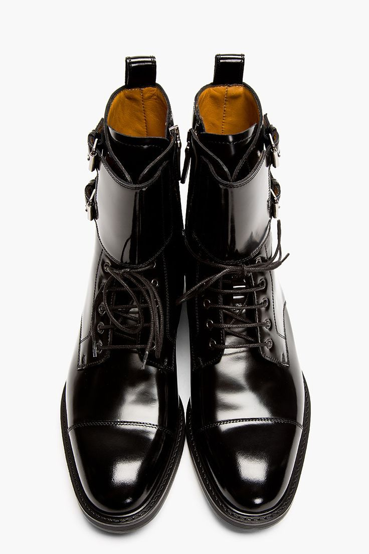Valentino Black Patent Leather Buckled Stud Boots Best
