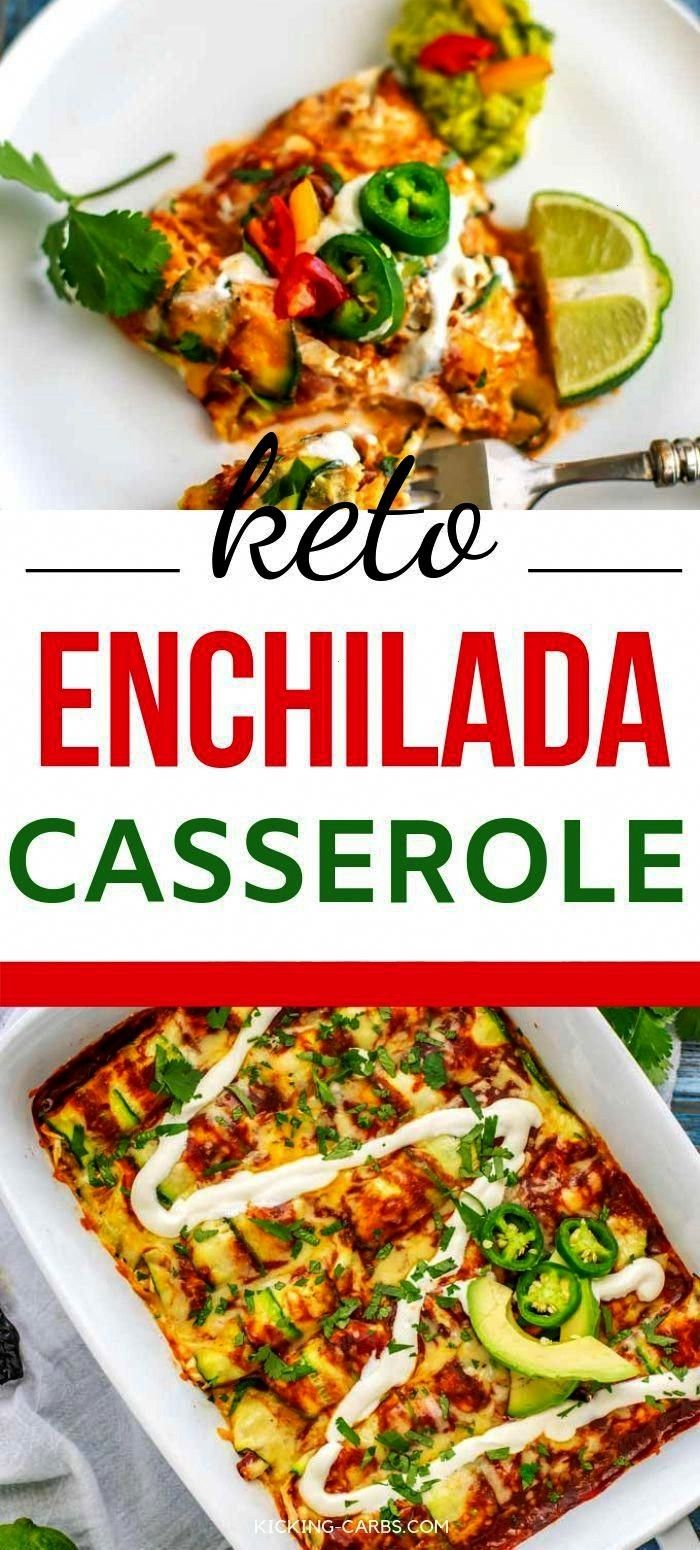 Carb Dinners dont get much more delicious than this Keto Chicken Enchilada Casserole Using zucchini in place of tortillas is genius and you wont miss a thingLow Carb Dinn...