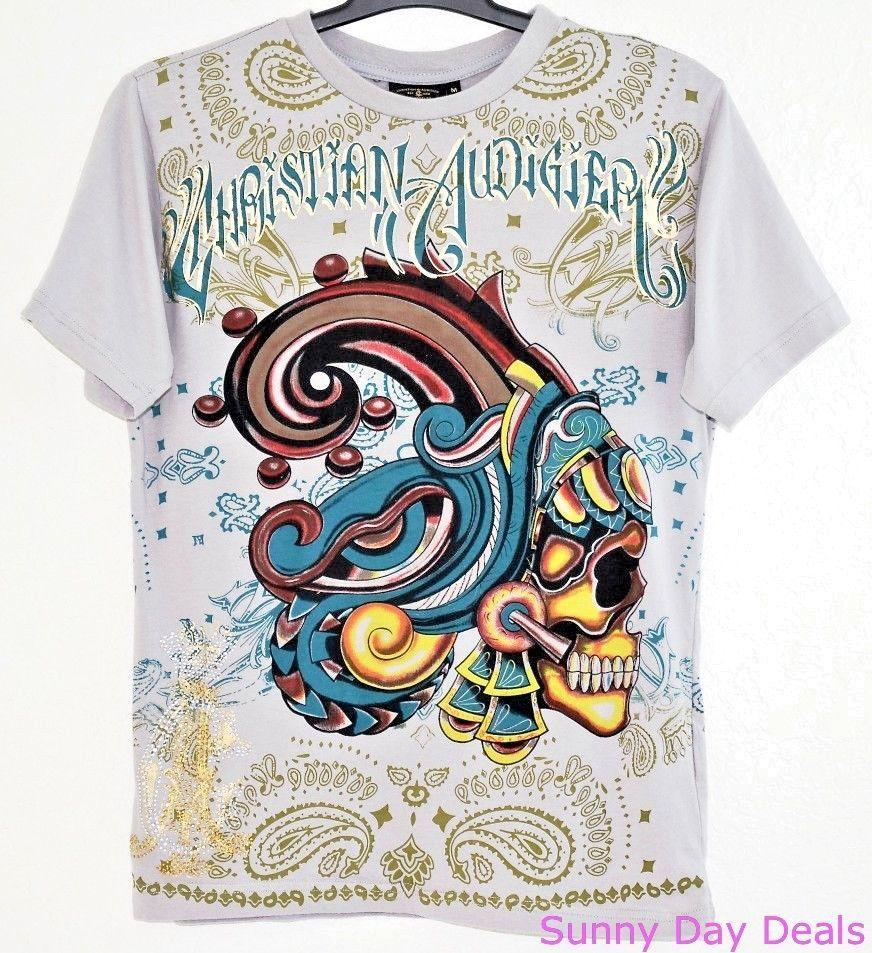 Christian Audigier Mens T-Shirt Cotton Foil Rhinestones Gray Short Sleeve Crew M #ChristianAudigier #EmbellishedTee