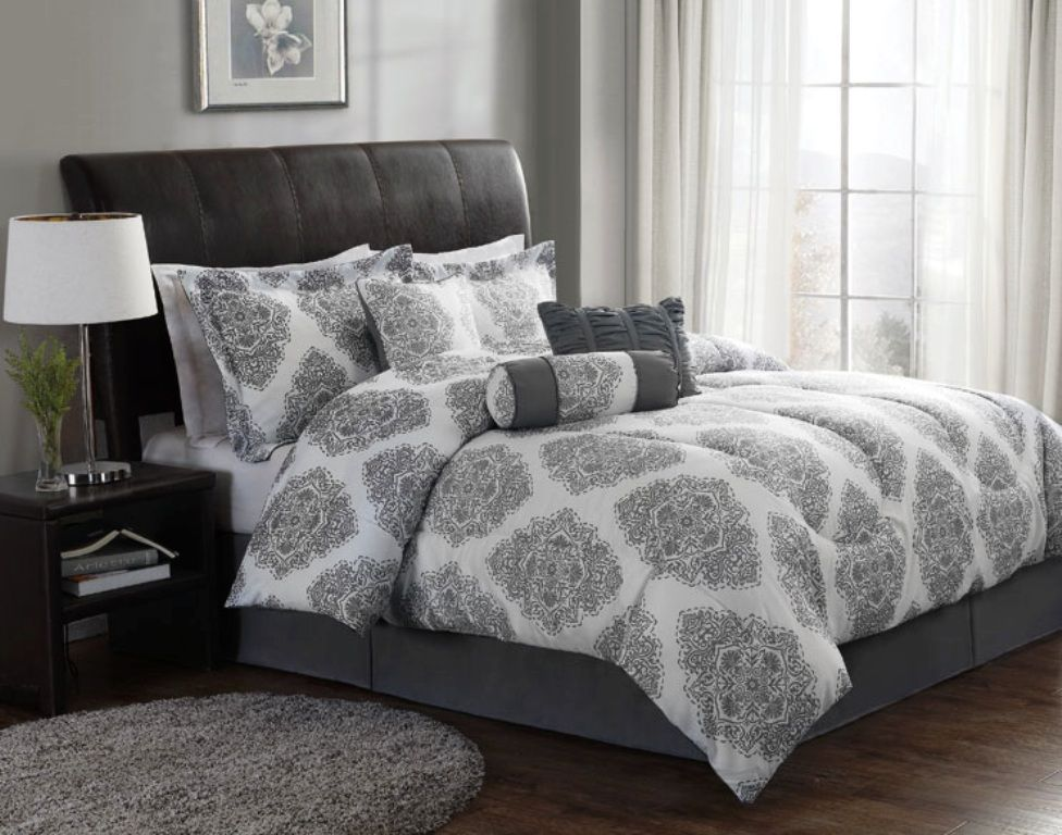 we like the new barba comforter set modern gray and white bedding set