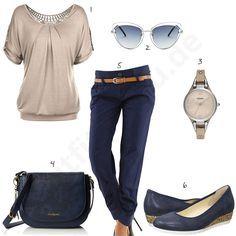 Blau-Beiges Outfit mit 3/4-Hose und Slippern (w0473