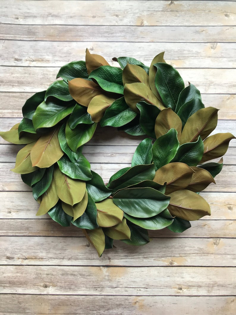 Photo of Royal magnolia wreath, magnolia wreath, artificial magnolia, year-round wreath, front door wreath, peasant wreath, spring wreath, autumn wreath