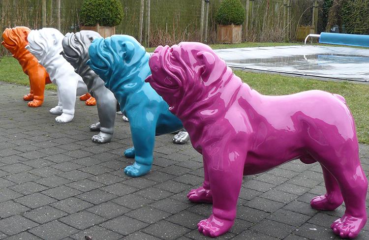 Statue Bulldog Anglais Laqué  Bulldogs and Statue