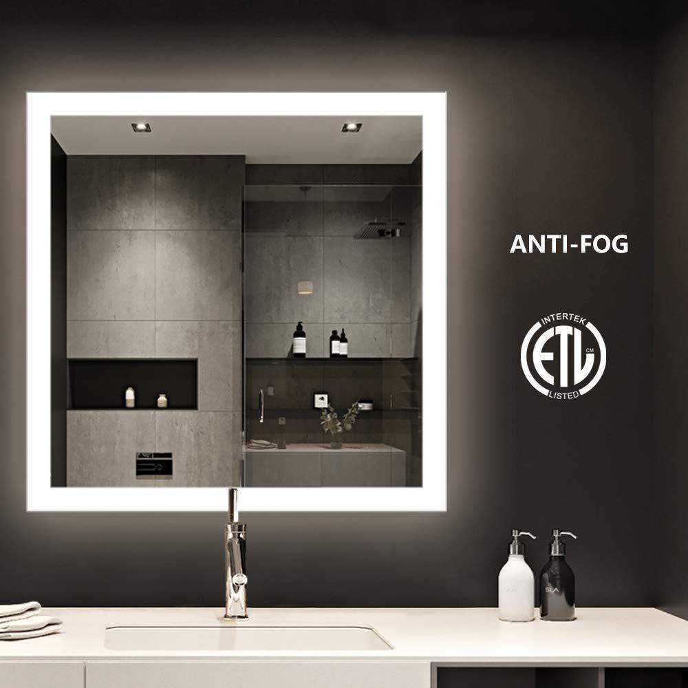 Smartrun Square Backlit Led Mirror Bathroom Make Up Wall Mounted