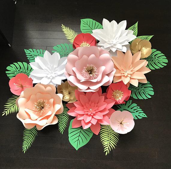 Large Paper Flower Backdrop/Tropical Backdrop Customize | paper ...