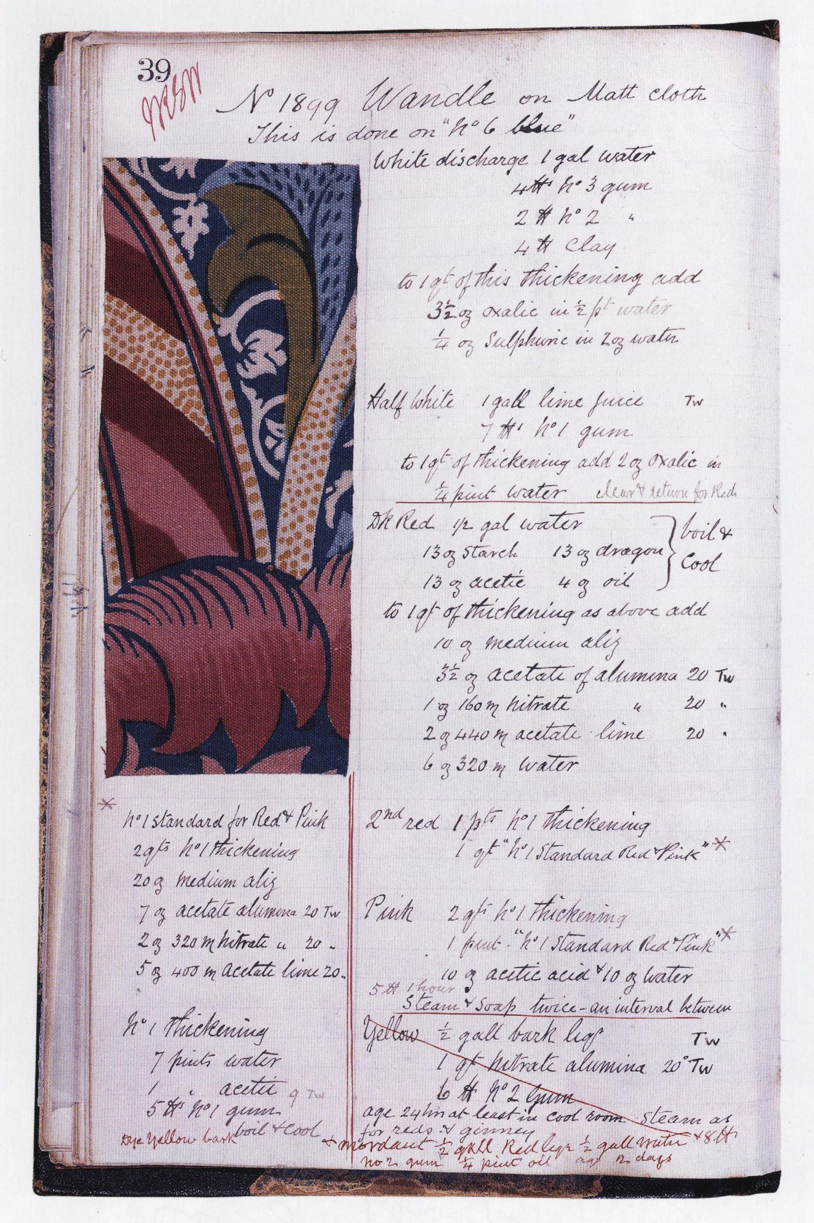 This is a book page from William Morris' Merton Abbey Dye Recipe Book...Morris was very interested in using natural dyes...