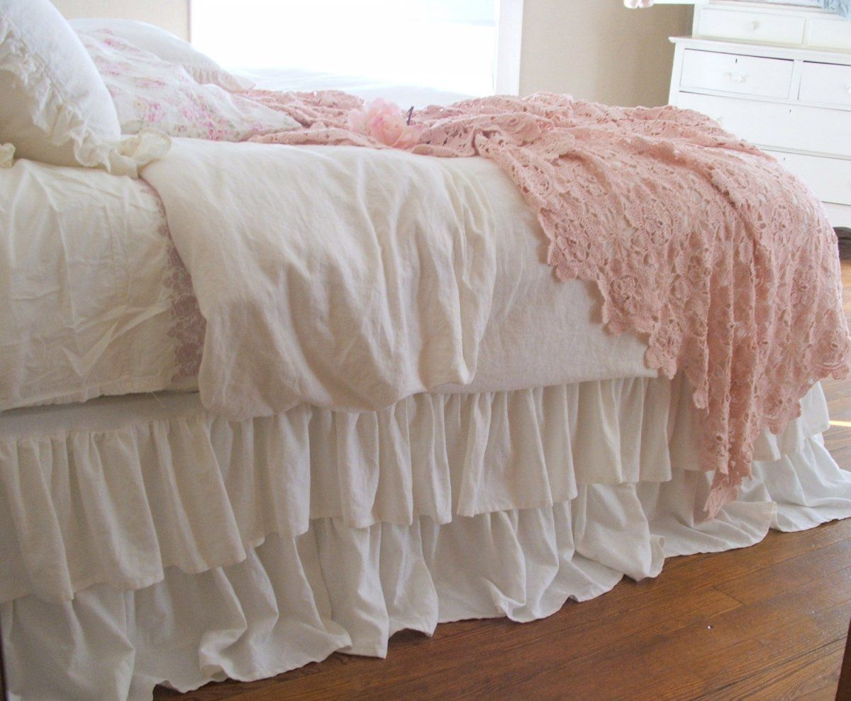 Cute Shabby Chic Bedding With White Ruffle Bed Skirt And Goose Feather Pillows Bedroom Sets
