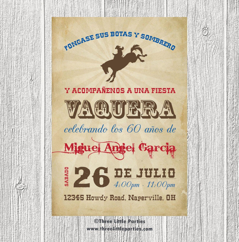 Invitación De Vaquero Español Fiesta Vaquera Invitacion En