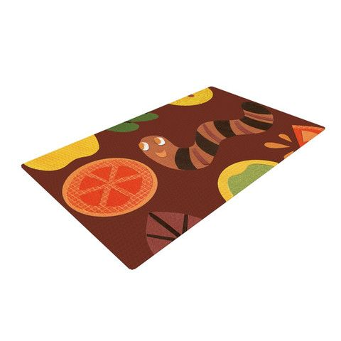 "Jane Smith ""Autumn Repeat"" Brown Bugs Woven Area Rug 