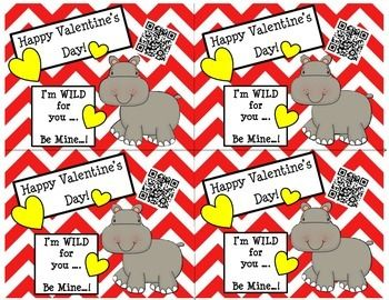 ValentineS Day Cards ChevronHippo With Fun Qr Codes  Qr Codes