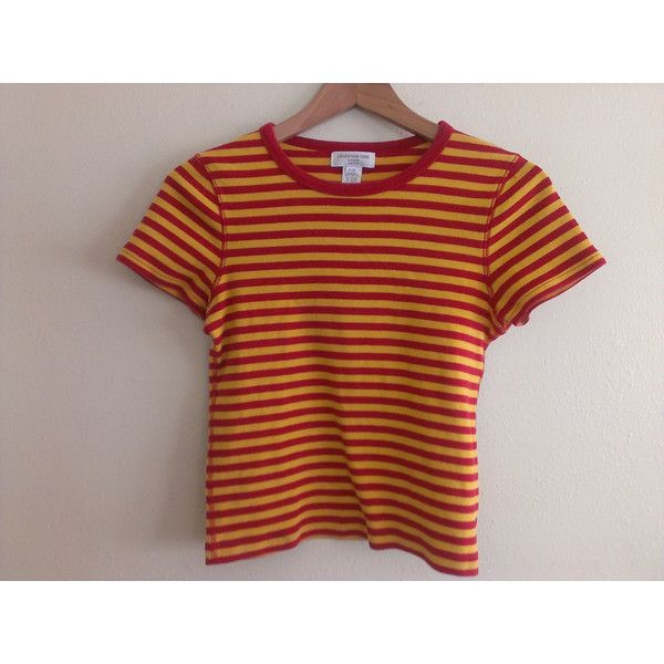 3a2bc6c6b01604 90s vintage women's small yellow and red striped cropped t-shirt (1.505  RUB) ❤ liked on Polyvore featuring tops, t-shirts, pictures, shirts, red  stripe ...
