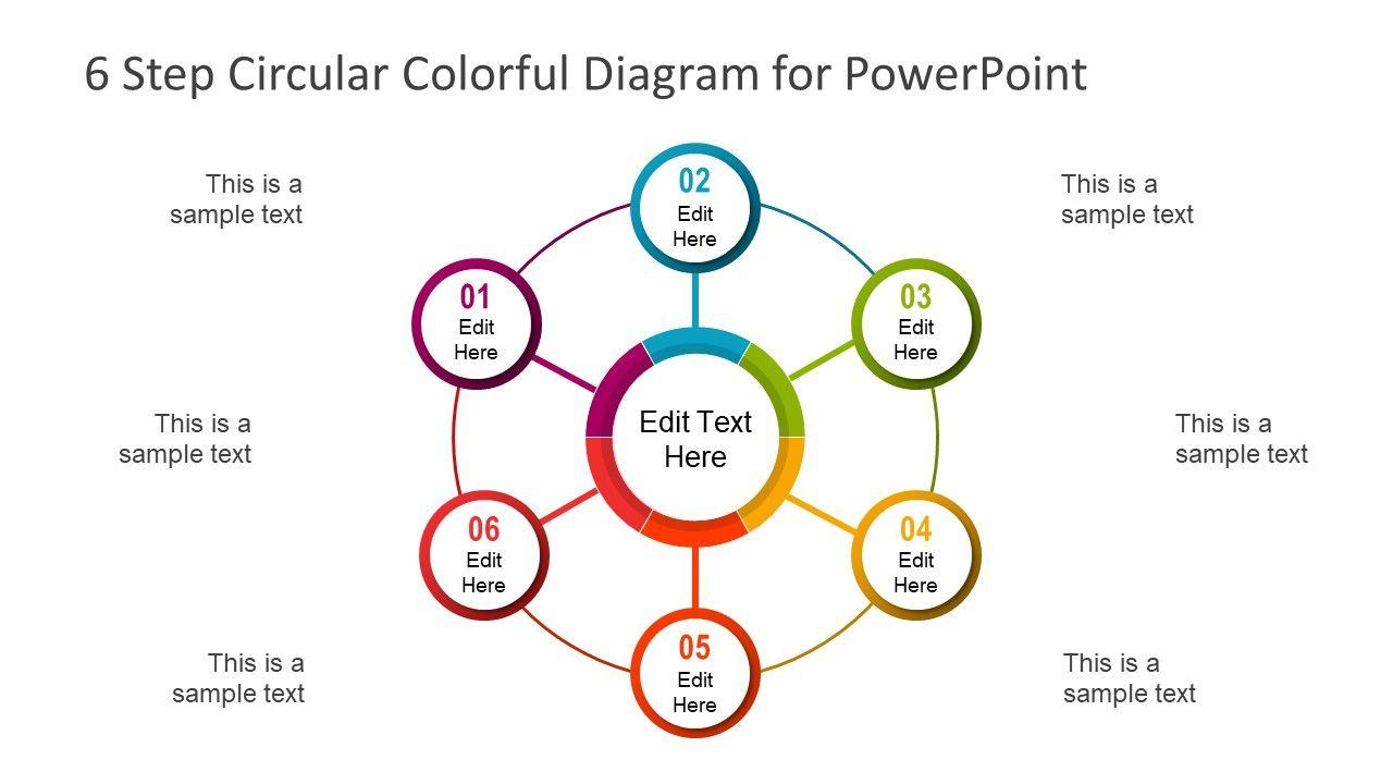 6 Step Circular Colorful Diagram Powerpoint Template Slidemodel Powerpoint Templates Powerpoint Powerpoint Slide Designs