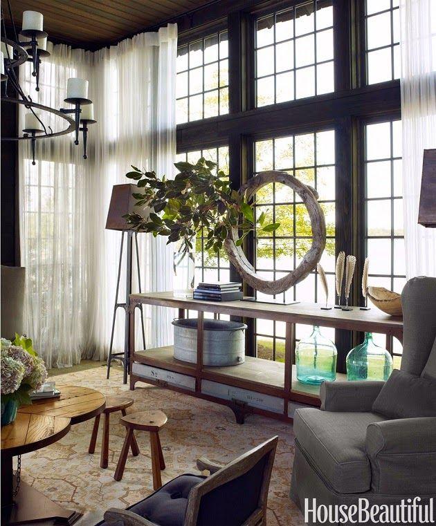 Modern Rustic Decor: Industrial Metal Floor Lamp, Rustic Circle Wood  Sculpture, Traditional Chairs