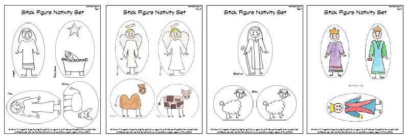 Stick Figure Nativity Set 1 Use as coloring pages in Church 2 - copy nativity scene animals coloring pages