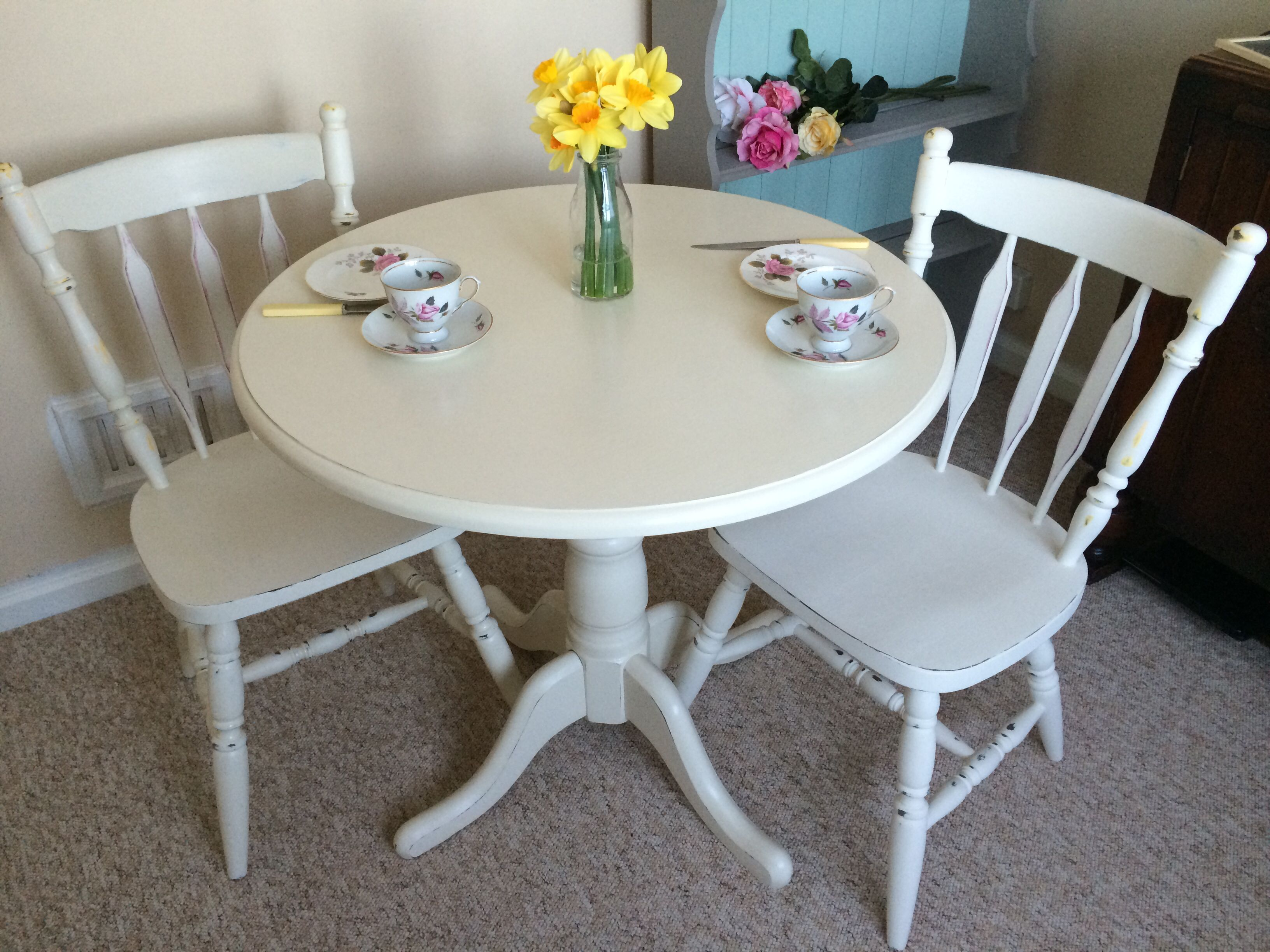 Cute Little Two Seater Table And Chairs Great For A Small Kitchen Diner Chair Backs Painted In Ice Dining Table Small Table And Chairs 2 Seater Dining Table