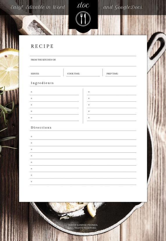 Editable Recipe Template 8 5 X 11 Word Etsy Recipe Cards Template Recipe Book Templates Recipe Template