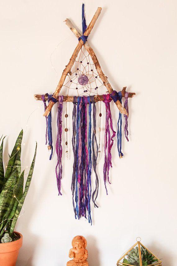 Boho Dream Catcher, Floral Dream Catcher, Pink Dream Catcher, Bohemian Decor, Boho Decor, Flower Dream Catcher, Gift for Her #dreamcatchers