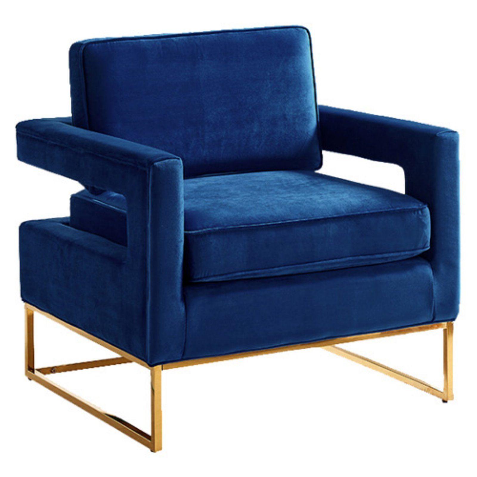 Best Meridian Furniture Inc Noah Velvet Accent Chair Navy Blue 400 x 300