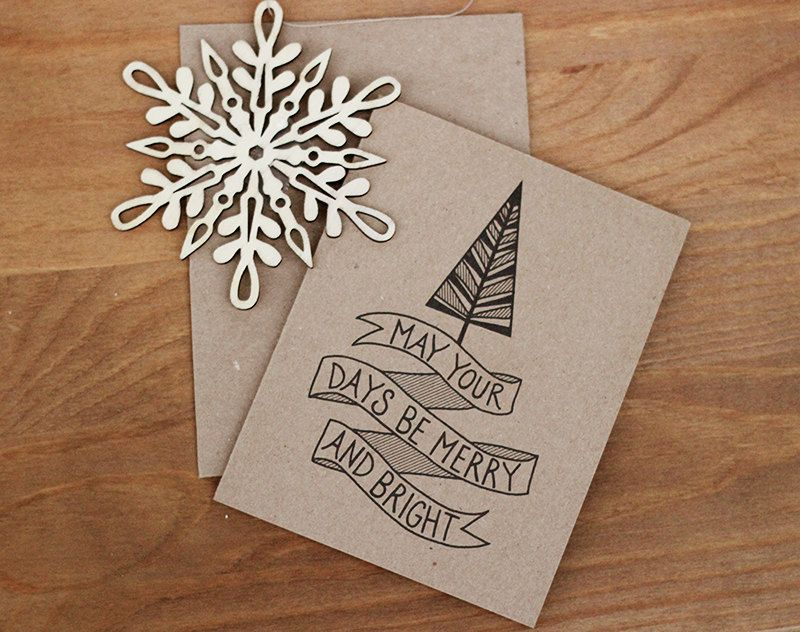 Merry and Bright Christmas Card Set of 10 - Eco Friendly Holiday ...