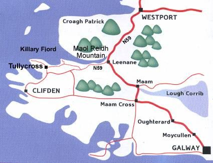 Map Leenane Connemara County Galway Ireland Irish Traditions