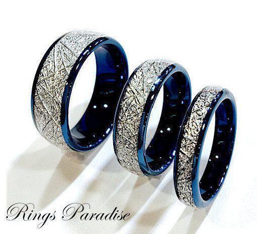 Details About Blue Meteorite Inlay Tungsten Wedding Bands
