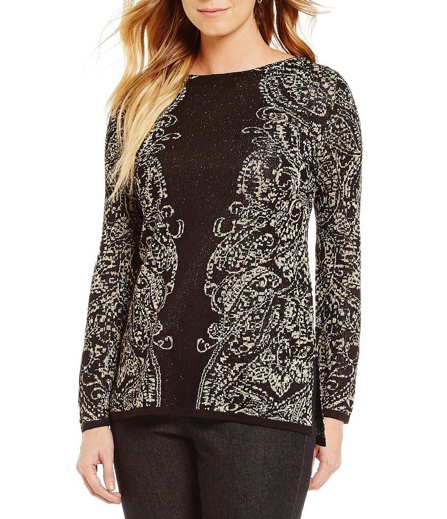 d1a3a4050 Ruby Rd. Petite Boat-Neck Metallic Paisley Jacquard Tunic Pullover ...