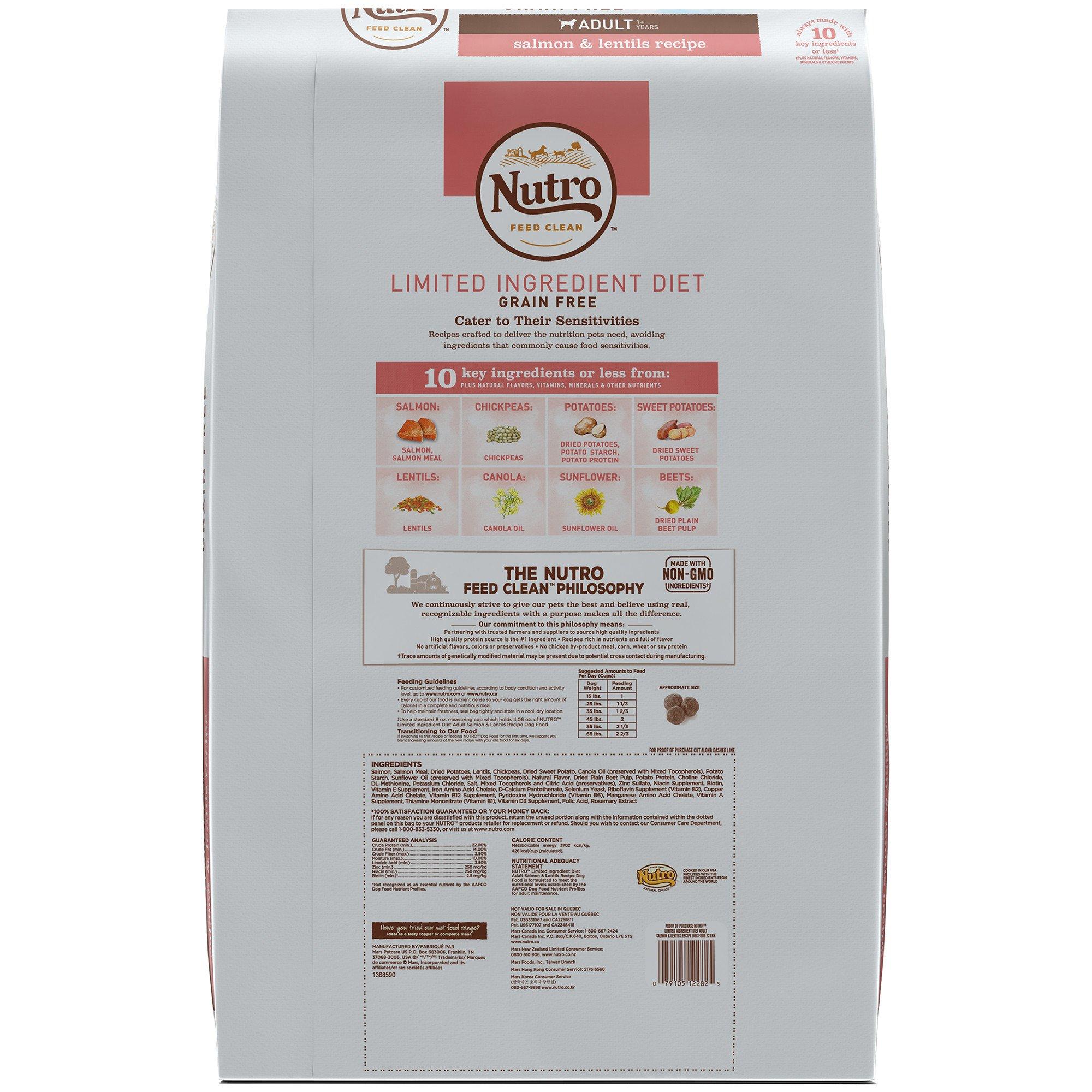 Nutro Limited Ingredient Diet Salmon Lentils Recipe Dry Adult
