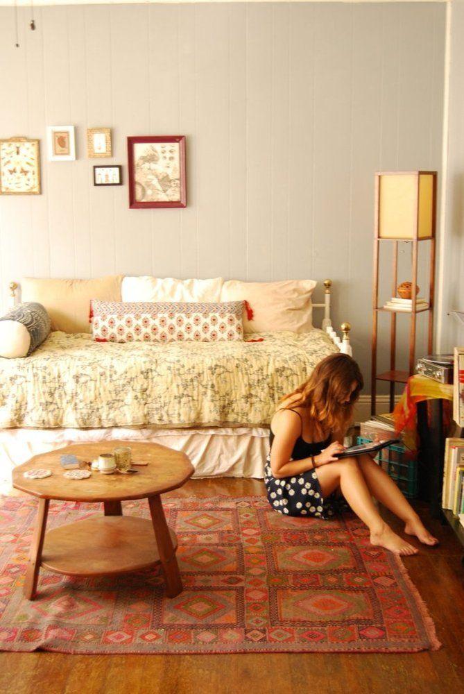 Katie's Cozy Teeny Tiny Boho Studio | Studio living ...