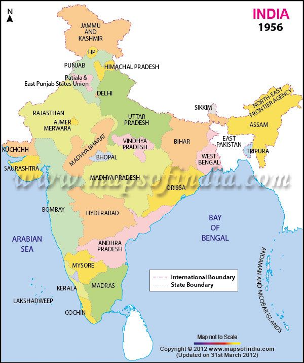 india-map-in-1956 | Indian Map | Pinterest | India map, Map and India