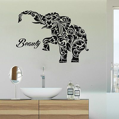 Elephant Decals Bathroom Wall Decal Indian Home Decor Stickers Boho Ds11 ステンシル