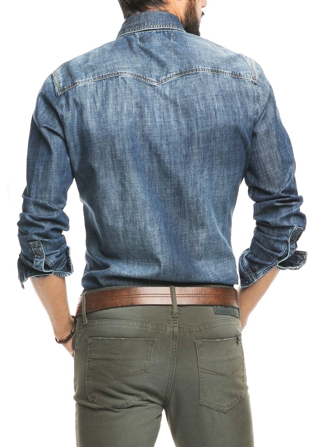 Slim Fit Denim Overhemd.Donker Denim Slim Fit Overhemd Heren In 2019 A Z Style Denim
