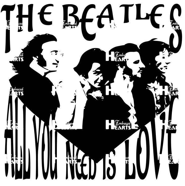 All You Need Is Love The Beatles Monochromatic Vector File