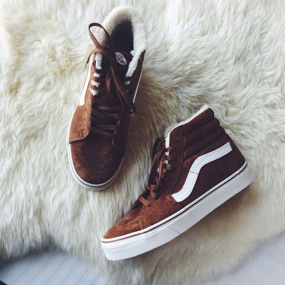 Vans Suede Fleece Sk8-Hi Sneakers •Suede Sk8-Hi sneakers with cozy fleece  lining. •Women s size 6.5. •New in box (no lid). f654f7af5