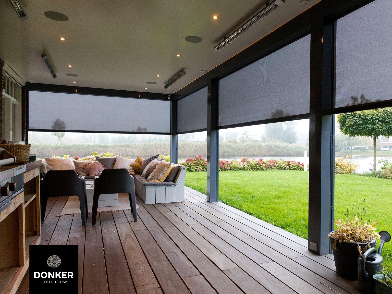Donker Houtbouw Klassieke veranda Vlondervloer Veranda