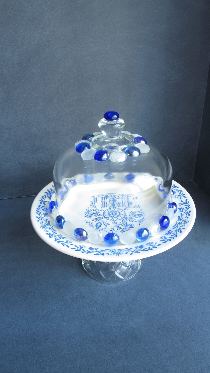 Plate Stand with Dome Cupcake Stand with Cloche Blue and White Cake Plate   & Plate Stand with Dome Cupcake Stand with Cloche Blue and White ...