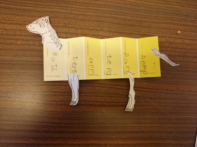 Paint chip card- fold it, write on it, make it an animal/person (eg rhyming words)