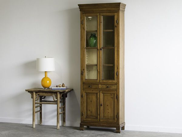 French Louis Philippe Period Tall Slender Pine Bookcase Circa 1850