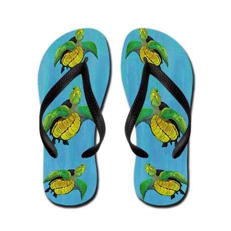 Green Sea Turtle Flip Flops Funny Thong Sandals Beach Sandals CafePress
