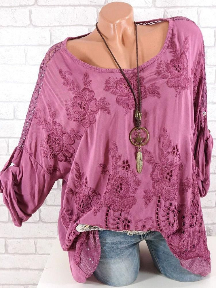 5663ae9b62 Embroidery Sequins Blouse en 2019